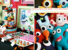 Colorful MONSTER bash party with DIY monsters! Via Karas Party Ideas | KarasPartyIdeas.com #monster #party #diy #ideas