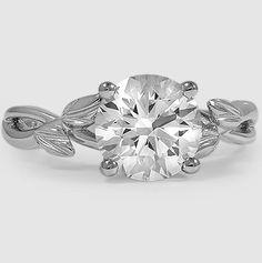 Platinum Budding Willow Ring, set with 1.8 Carat, Round, Super Ideal Cut, H Color, VVS2 Clarity Diamond.