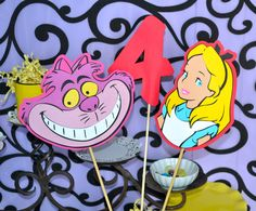 Alice in Wonderland, Cheshire Cat and age character One 3pc set Table Topper/ Centerpieces.