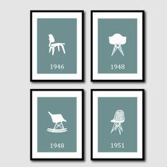 Silla Art - sillas Eames - Wall Art Quad 5 x 7 impresiones modernas arrojadas en colores apagados - Room Decor en su elección de color