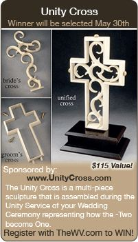 WIN THIS! Wedding ceremony idea from www.WeddingVibe.com. Wedding Ceremony, sand ceremony, wedding unity cross, unity candle
