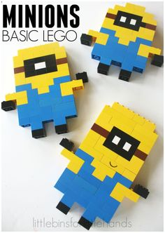 LEGO Minions with Basic LEGO Bricks Do you have a Minion fan who loves LEGO building too! Even the youngest LEGO builder can create Minions out of basic bricks. Fun and simple Minion idea! Lego Minion, Lego Dinosaur, Lego Batman, Lego Basic, Lego Duplo, Lego Design, Deco Lego, Lego Therapy, Lego Challenge