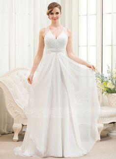 Corte A/Princesa Escote en V Barrer/Cepillo tren Chifón Tul Vestido de novia con Bordado Lentejuelas Cascada de volantes (002054621)