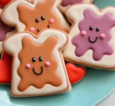Peanut Butter and Jelly decorated cookies :D @Chantal I'm gonna try to make…