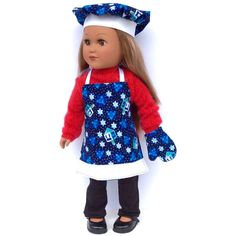 Hanukkah Chef's Set, 18 Inch Doll Clothes, Chanukah Doll Apron, Chef's... ($20) ❤ liked on Polyvore featuring home and kitchen & dining