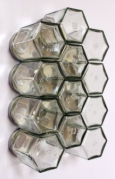 Honeycomb magnetic glass jar storage set- 12 empty hexagonal bottles and labels- spice rack, craft storage- FRIDGE SET- Foodie, Hostess gift    Are you