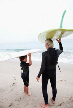 Surfer with grandson