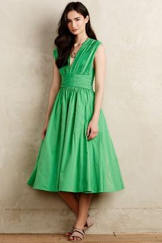 Parted Emerald Dress - anthropologie.com - for small-busted ladies, only.  (Like me!)