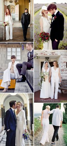 Style Inspiration: Brides in Trouser Suits and Jumpsuits | Perfect for the Non-Dress Bride! | www.onefabday.com
