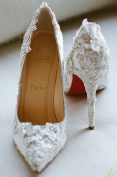 Gorgeous white pearl wedding shoes!