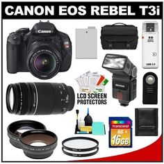 Canon EOS Rebel T3i Digital SLR Camera Body & EF-S 18-55mm IS II Lens with 75-300mm Lens + 16GB Card + .45x Wide Angle & 2x Telephoto Lenses + Flash + Case + Battery + Remote + (2) Filters + Accessory Kit by Canon. $764.95. Kit includes:♦ 1) Canon EOS Rebel T3i Digital SLR Camera Body & EF-S 18-55mm IS II Lens♦ 2) Canon EF 75-300mm f/4-5.6 III Zoom Lens♦ 3) Transcend 16GB SecureDigital Class 10 (SDHC) Card♦ 4) Zeikos RC-6 Wireless Shutter Release Remote Contr...