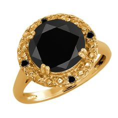 Ct Round Black Onyx and Diamond Gold Plated 925 Silver Ring, Women's, Size: 9 Black Onyx, Black Diamond, Yellow Gold Rings, Rose Gold, Sterling Silver Rings, 925 Silver, Jewelry Rings, Jewellery, Wedding Store
