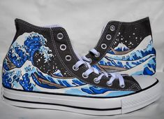 9c5f2835cc77 Hand Painted Converse Shoes - The Great Wave Off Kanagawa - Grey