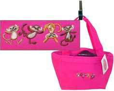 Dancing Funny Monkeys Insulated Lunch Cooler Bag Play Monogram Get Hot Pink Now! #LibertyBags