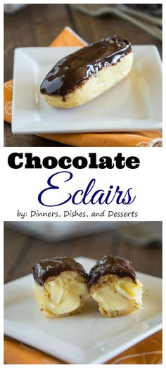 Eclairs - Light and airy pastry filled with a vanilla cream, and then topped with a chocolate icing. Sure to impress, but way easier than you think to make! Chocolate Eclairs, Chocolate Icing, Homemade Chocolate, Chocolate Recipes, Fun Desserts, Delicious Desserts, Dessert Recipes, Yummy Food, Cannoli