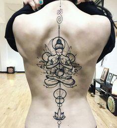20+ Of The Best Spine Tattoo Ideas Ever Mini Tattoos, Body Art Tattoos, Sleeve Tattoos, Chakra Tattoo, Spine Tattoos For Women, Small Tattoos For Guys, Symbolic Tattoos, Unique Tattoos, Buddha Tattoo Design