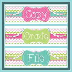 Copy/Grade/File labels for 3-drawer bin! Freebie!