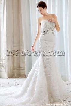Luxury Strapless Flowers Mermaid Style Wedding Dresses with Train:1st-dress.com