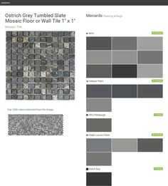 """Ostrich Grey Tumbled Slate Mosaic Floor or Wall Tile 1"""" x 1"""". Mosaic Tile. Flooring & Rugs. Menards. Behr. Valspar Paint. PPG Pittsburgh. Ralph Lauren Paint. Dutch Boy.  Click the gray Visit button to see the matching paint names."""