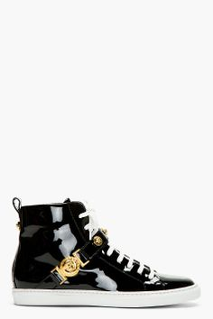 VERSACE Black Patent Leather High-Top Sneakers