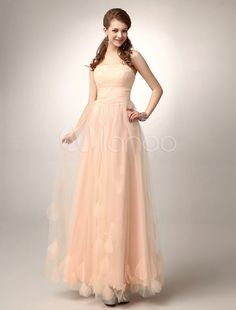 Vestido de fiesta de tul de rosado melocotón sin tirantes