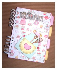 """My Recipe"" Book - Scrapbook.com  Notebook recipes. Cuaderno de cocina. Libro alterado."