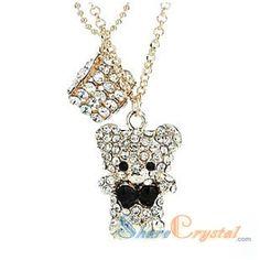Swarovski Crystal Necklaces Lovely Bear