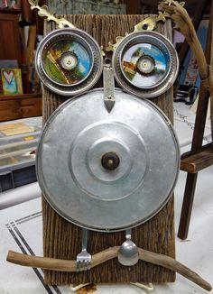 Found Object Owl Metal Sculpture | Deborah Gayle Studio