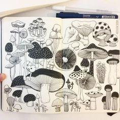 Day 10, Mushroom I love mushrooms! #CBDrawADay #creativebug #sketchbook #moleskineart #linedrawing #doodle #mushroom