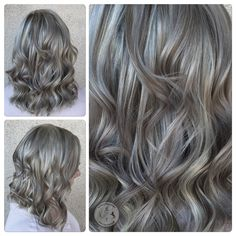 """Samantha Tarini (@deathbycouture) in Las Vegas, NV took her guest, who is """"pretty light anyway, about a level 7 and pretty ashy"""" to this shining silver/grey that looks both on-trend and classically beautiful, at the same time. PROCESS STEP ONE: """"I started by doing a very heavy highlight with Schwarzkopf Vario Blond bleach and 20 volume, using diagonal sections and alternating weaving with thin slices."""""""