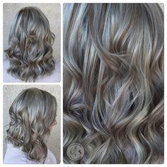 A Shining, Silver Grey - Hair Color - Modern Salon Level 7 Hair Color, Hair Color And Cut, New Hair Colors, Dyed Blonde Hair, Balayage Hair Blonde, Haircolor, Gray Balayage, Icy Blonde, Bright Blonde