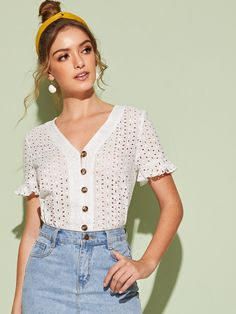 Shop for Ruffle Cuff Button Front Schiffy Blouse by Shein at ShopStyle. Blouse Styles, Blouse Designs, Pop Fashion, Fashion News, Lace Saree, Blouse Outfit, Blouse Online, Summer Shirts, Work Casual