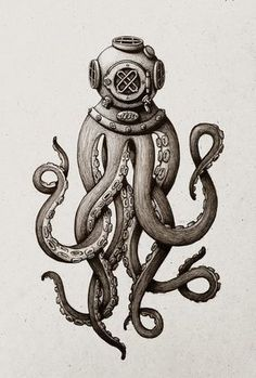 Dot & Bo - Furniture and decoration for the modern lifestyle - Octopus Diver Kunstdru . - Dot & Bo – Furniture and decoration for the modern lifestyle – Octopus Diver Art Print – - Le Kraken, Kraken Art, Motif Art Deco, Diving Helmet, Diving Suit, Octopus Tattoos, Tentacle Tattoo, Octopus Tattoo Sleeve, Tatuagem Old School