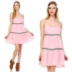 SUMMER SALEPink bohemian sundress Pink, spaghetti strap dress with lace detail for that chic bohemian effect. Available in size S,M,L.   ❗️Please do not purchase this listing. Comment your size below and I will make you a separate listing. ❗️  No trades. Price is firm unless bundled. Free shipping on orders $50 & up. Fashion Spectrum Dresses