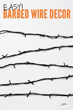 When decorating for Halloween it is fun to layer on lots of spooky textures. This simple DIY Barbed Wire garland -- made from nothing but yarn -- quickly ups the roughness and danger factor on your...