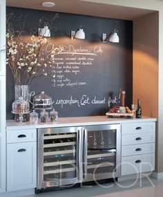 nice wine / bar area with blackboard paint on the wall