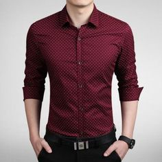 Men's Shirts, Casual Slim fit red/white/ Asia size M~5XL