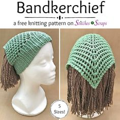 Crochet Headband Free Pattern - Bandkerchief (knit) via - It looks like a kerchief, but goes on like a headband! With 5 sizes, from baby to adult, the knit Bandkerchief is great for gifting. Loom Knitting Stitches, Loom Knit Hat, Loom Knitting Projects, Easy Knitting, Sock Knitting, Knitting Tutorials, Knitting Machine, Vintage Knitting, Knit Or Crochet