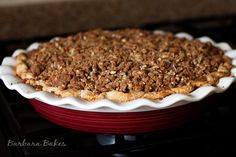 Peaches and Cream Crumble Top Pie from @Barbara Bakes {Barbara Schieving}
