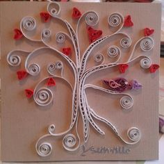 Valentine's day card; tree of hearts by quilling