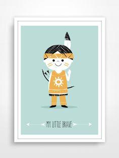 Retro / vintage style illustration wall art for kids' room or nursery with a cute little Indian boy. Tribal Nursery, Scandinavian Nursery, Indian Baby, Doodle Patterns, Nursery Prints, Kids Decor, Kid Beds, Retro Vintage, Vintage Style