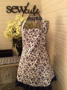 Fully lined adult blue and white floral apron by Sewcutesewing1 on Etsy