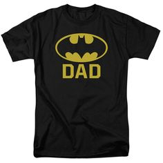 The Batman - Bat Dad Adult T-Shirt is officially licensed, made of pre-shrunk cotton and available in black. Whether you're a Batman Super fan or just looking to geek out at home, you'll love this t-shirt. Mens Tee Shirts, Dad To Be Shirts, Cool T Shirts, Batman Shirt, I Am Batman, Batman Logo, Dc Comics, Dads, Shorts
