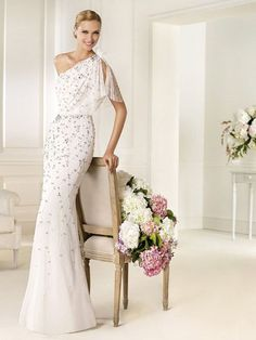 Tulle Flutter One Shoulder Strap Sheath Exquisite Beaded Wedding Dress at Millybridal.com