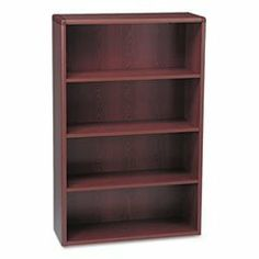 10700 Series Bookcase, 4 Shelves, 36w x 13-1/8d x 57-1/8h, Mahogany by HON. $372.71. A modular management solution that combines stylish profiles and elegant accents with top-grade fit and finish. Laminate accented by rounded corners and waterfall edge for a contemporary look. Finished back provides a clean, professional appearance and allows placement anywhere--not just against a wall. Shelf count includes bottom of bookcase. Color: Mahogany; Material: High-Pre...