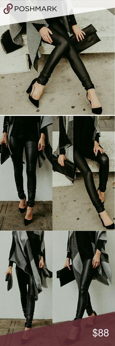 Coming! Matte Black Leggings! Stylish and chic. The perfect legging to dress up or down. Cool matte black. This legging is a must have for cold weather style. Happy shopping! Aluna Levi Pants Leggings