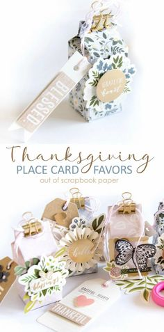 DIY Thanksgiving Place Card Favors Out of Scrapbook Paper. Turn paper into beautiful Thanskgiving place cards or gifts with this easy DIY idea!