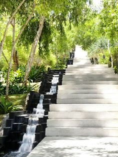 Love these steps with the water feature beside them! would be great in the land of waterfalls! Landscape Stairs, Landscape Model, Landscape Elements, Landscape Plans, Urban Landscape, Stairs Architecture, Landscape Architecture Design, Alila Villas Uluwatu, Water Features