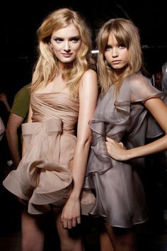 Lily Donaldson & Abbey Lee Kershaw backstage at Valentino Spring 2010