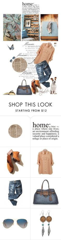 """Denim and Tan"" by leegal57 ❤ liked on Polyvore featuring Levi's, Miu Miu, Ray-Ban and American Coin Treasures"